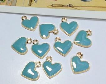 10 Sky Blue Enamel Heart Charms 12x11mm