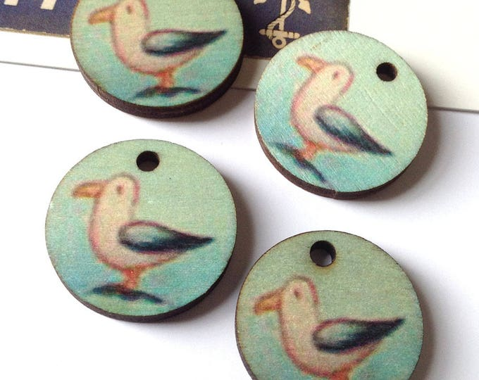 4 Sea Bird Wooden Charms 25mm round pretty seaside / nautical discs 1""