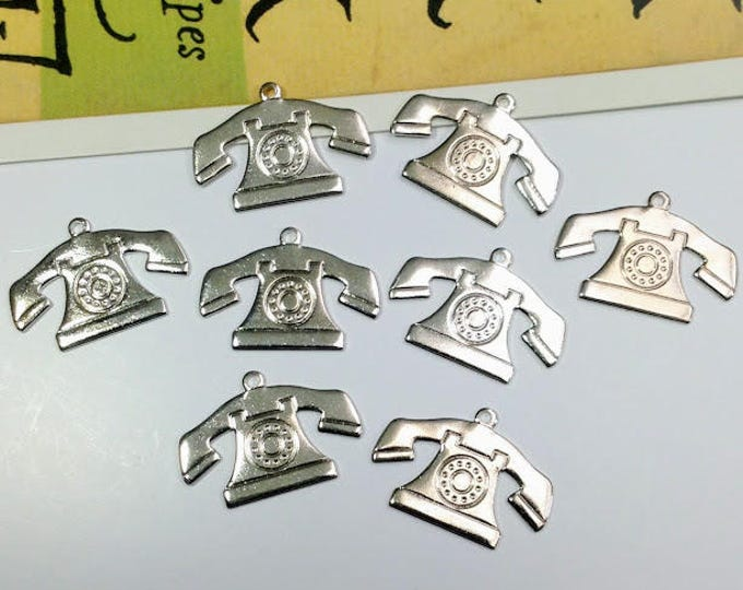 8 silver plated vintage telephone charms 21x14mm rotary phone trinkets, USA made