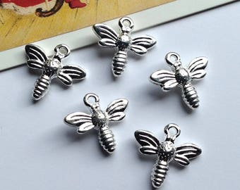 5 Silver Plated Mini Bee Charms 15mm