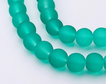 12 Sea Green Frosted glass beads 8mm