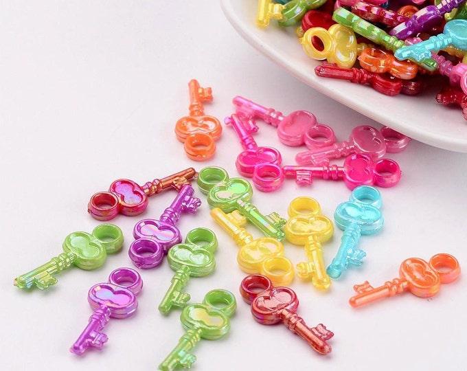 10 colourful acrylic mini Key charms 23x10mm kitsch and fun trinkets