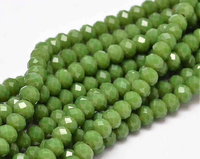15 Olive Green faceted glass beads 6x4mm