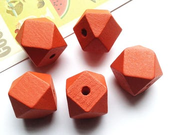 5 Deep Orange Wooden Geometric Beads 20mm