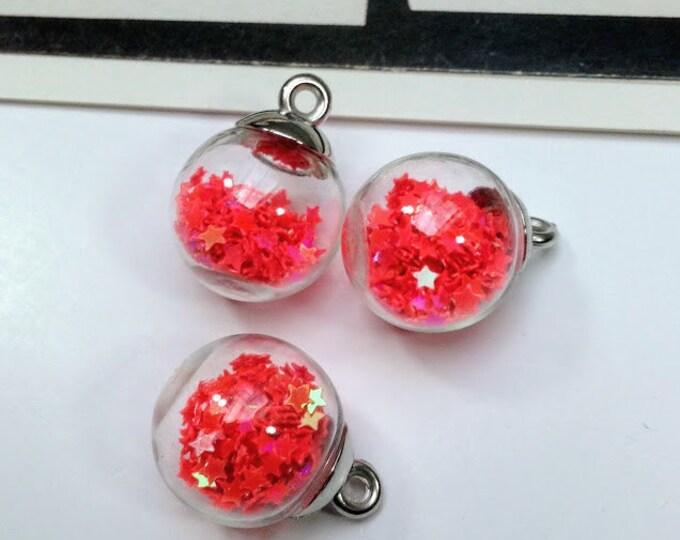 3 Glass Globe Charms 22x16mm with flouro pink stars, cute summer boho trinkets