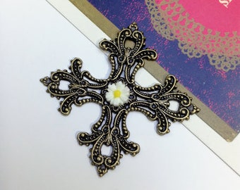 Antiqued Bronze Filigree Cross pendant 56mm with daisy