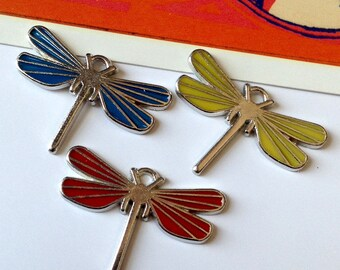 Deco Dragonfly Charm 30x21mm silver tone & enamel dragonfly, yellow, red or blue