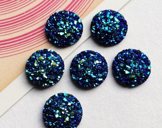 """6 deep galaxy blue faux druzy 12mm round cabochons / flatbacks 1/2"""""""