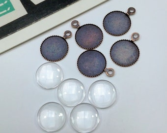 5 sets 10mm clear cabochons & settings, red copper, small glass cabs and bezels