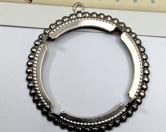 Vintage Antiqued Silver Plated 40mm Settins