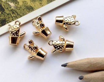 5 Tiny Gold Dipped Cactus Charms 15x11mm