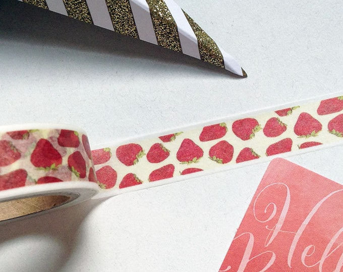 10m roll Strawberry Washi Tape 15mm wide, illustrated fruit adhesive crafts tape for decoration & packaging