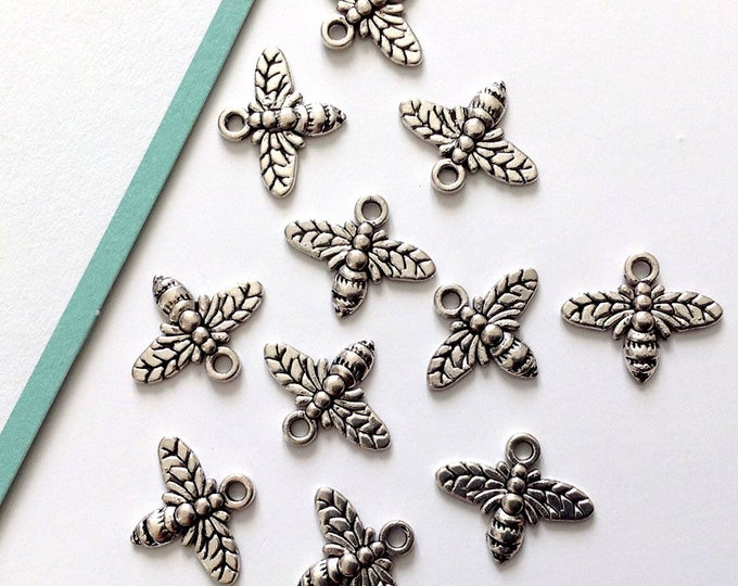 5 Silver tone small Bee Charms 13x15mm