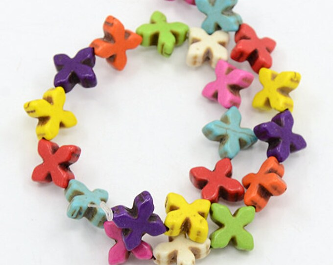 12 Cross beads 14x14mm colourful Greek crosses