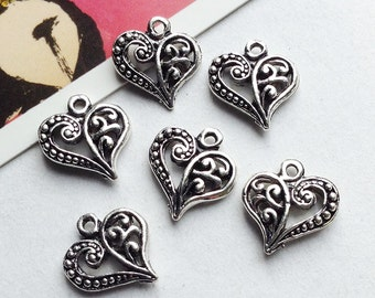 5 Antiqued Silver Metal Filigree Heart Charms 14x13mm