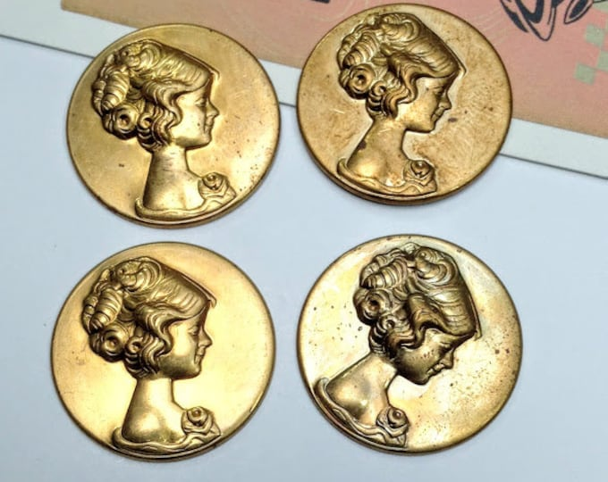 4 Vintage brass cameo stampings 26mm