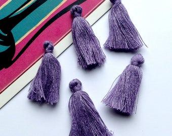 10 mini lavender/purple cotton tassels 25mm