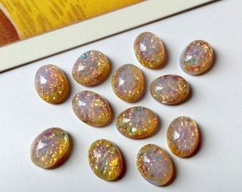 6 vintage Japanese 8x6mm fire opal glass cabochons