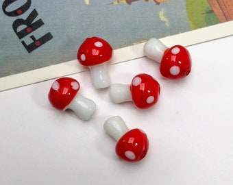 5 Glass Toadstool/Mushroom Beads 16x12mm