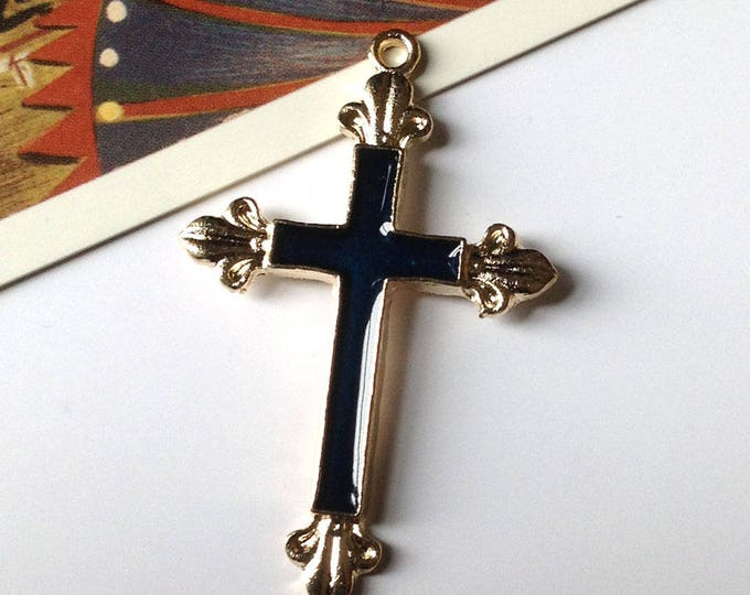 Enamel Latin Cross Pendant 48x30mm Navy Blue Enamel, religious pendant for making necklace / rosary