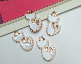 4 Enamel White Cat charms 15x9mm Lucky white cat trinkets
