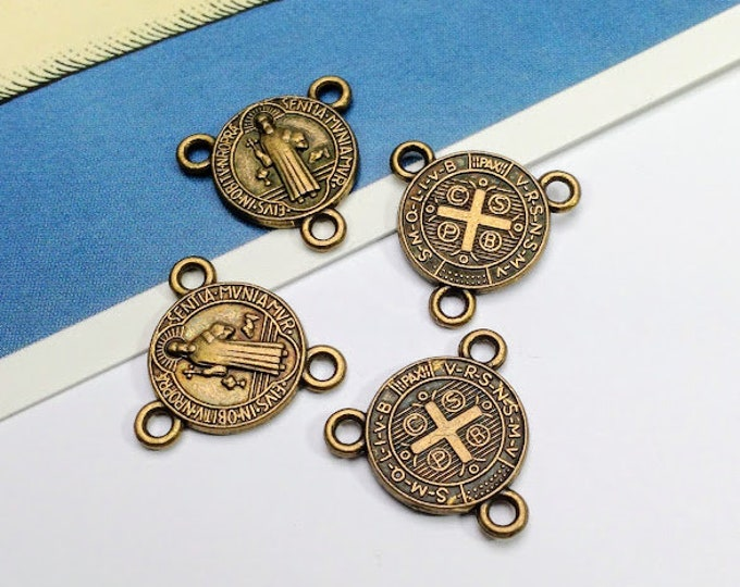 Bulk Lot 25 mini Rosary Charms 16mm bronze St Benedict double sided religious medals,  San Benito connectors
