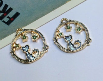 2 Enamel Cat and Stars charms 21x19mm gold tone / blue dreamy cat trinkets