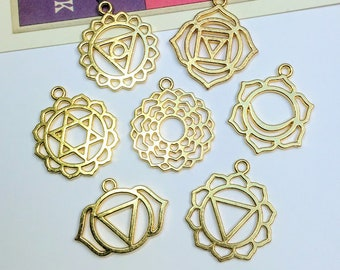7pc Gold Plated Chakra Charms Set 30mm yoga pendants / chakra symbols for jewellery making