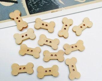 10 Wooden Dog Bone Buttons 18x10mm