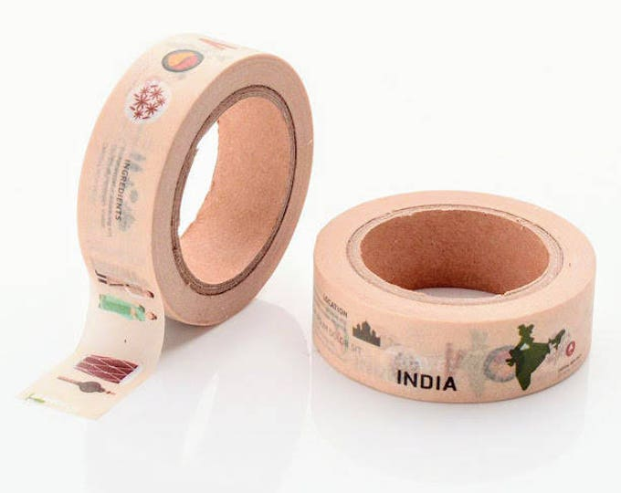 10m roll India Washi Tape 15mm wide holiday/vacation/Indian travel, yoga themed adhesive crafts tape for stationery, journals, scrapbooking