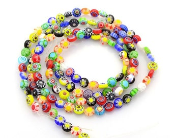 Bulk Lot 100 bright millefiori Glass Beads 6mm