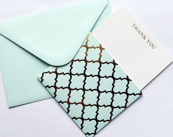 3pc powder blue Thank You Notecard & Envelope Set, foiled quatrefoil design