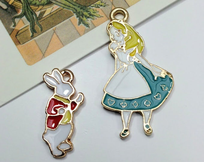 2pc Alice in Wonderland & White Rabbit charms set for necklace making, enamel charms
