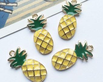 Bulk Lot 25 Enamel Pineapple Charms 18x14mm