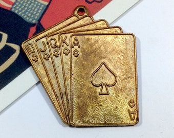 Vintage brass Hand of Cards pendant 30x29mm Ace of Spades / Royal Flush large charm 1960s poker theme