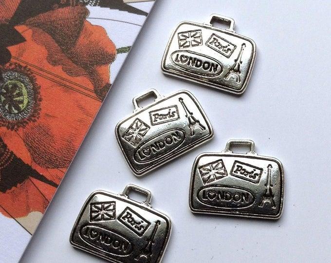 Bulk Lot 25 silver tone mini suitcase charms 16x13mm