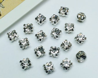 25 Small Clear Sew on Rhinestones 4mm