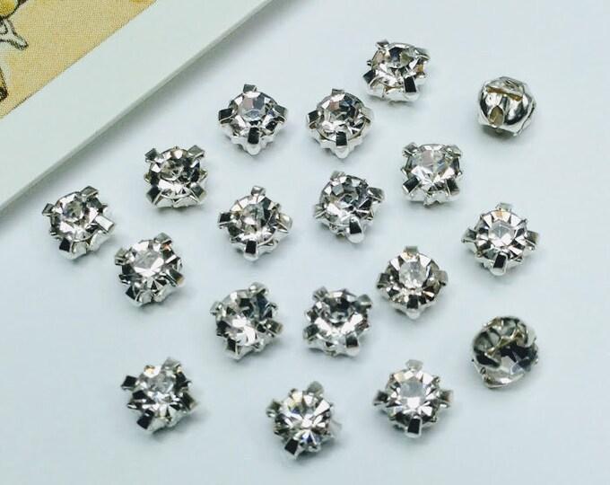 25 Small Clear Sew on Rhinestones 4mm
