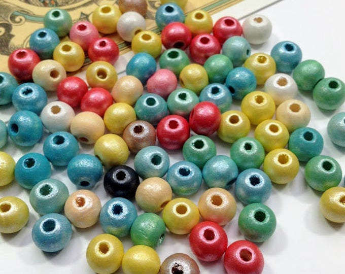 20 pearlized round wooden beads 8mm colour mix, small beads, pretty lot