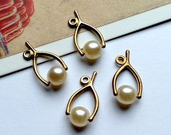 4 vintage brass Wishbone Charms 15x8mm with faux pearl bead