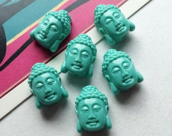 4 Aqua BlueThai Buddha Head Beads 15x11mm