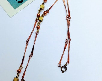 "40cm Aged Vintage copper chain 16"" twist brass / copper necklace"