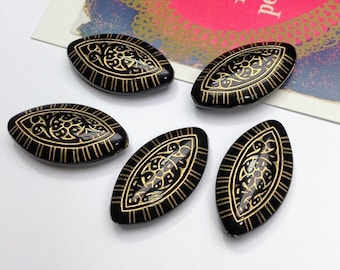 5 boho Black & Gold Moroccan oval beads 30x17mm
