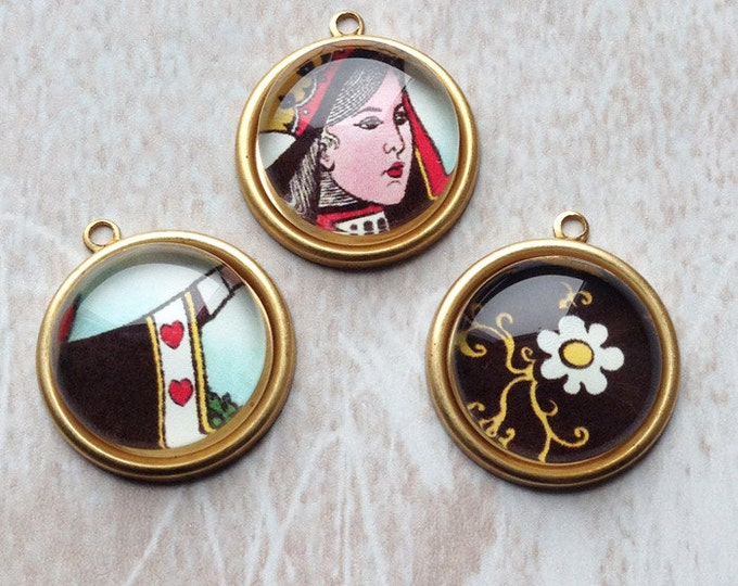 3 abstract Alice in Wonderland brass charms 25x22mm round domed glass Queen of Hearts set