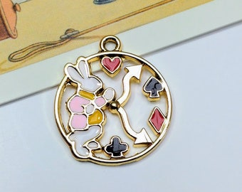 1 Enamel White Rabbit Clock Charm 23x20mm  Alice in Wonderland