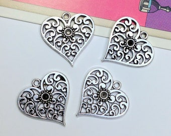 4 filigree heart charms 25x25mm Mexican style