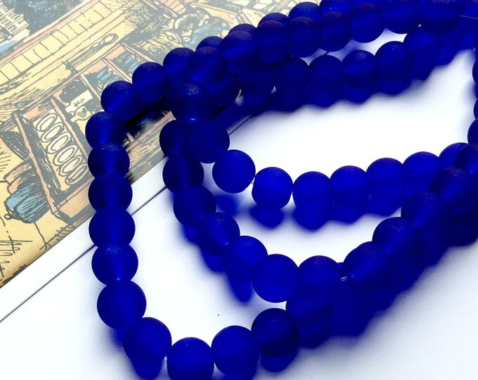 12 Cobalt Blue Frosted glass beads 8mm