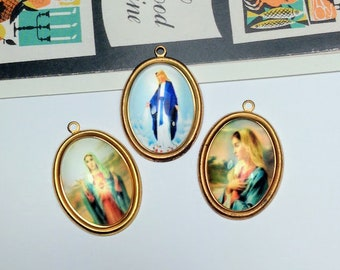 3pc Vintage Virgin Mary charms 33x22 pretty religious pendants / brass and glass
