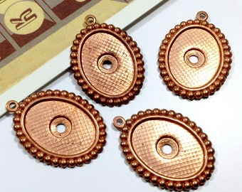 4 Vintage beaded Copper Settings for 18x13 cabochon / cameo