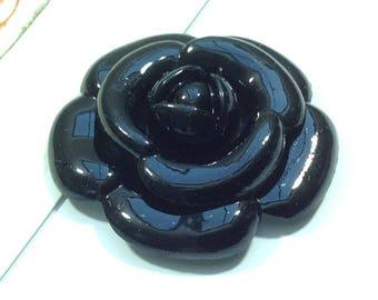 Large Black Camellia Cabochon 47mm